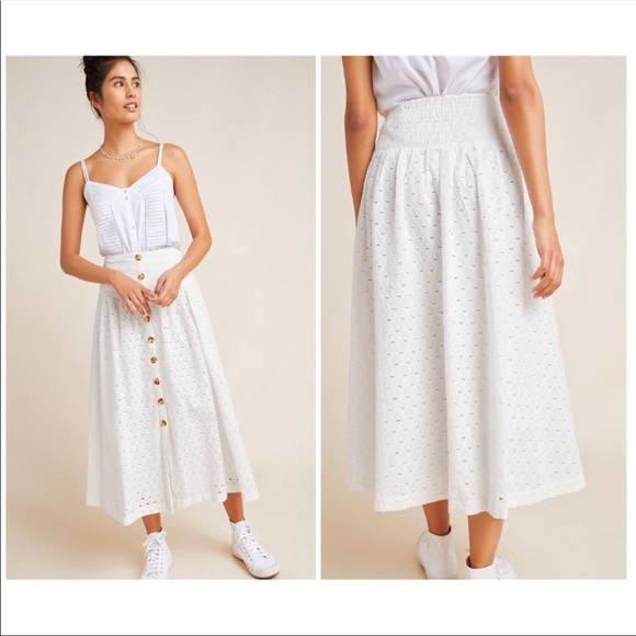 Anthropologie Vanderbilt Eyelet Skirt